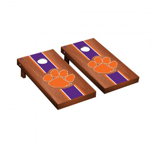 Clemson Tigers Rosewood Stained Cornhole Game Set