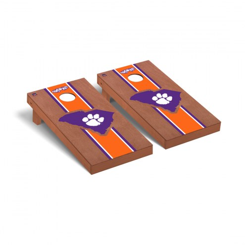 Clemson Tigers Rosewood Stained Stripe Cornhole Game Set