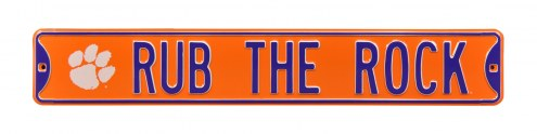 Clemson Tigers Rub the Rock Street Sign