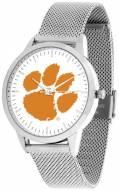 Clemson Tigers Silver Mesh Statement Watch
