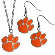 Clemson Tigers Dangle Earrings & Chain Necklace Set