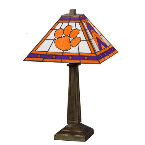 Clemson Tigers Stained Glass Mission Table Lamp