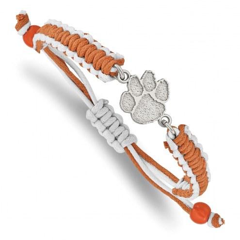 Clemson Tigers Stainless Steel Adjustable Cord Bracelet