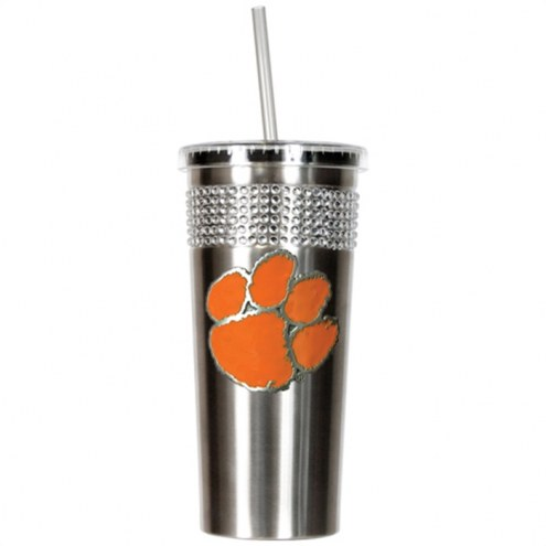 Clemson Tigers Stainless Steel Bling Tumbler with Straw