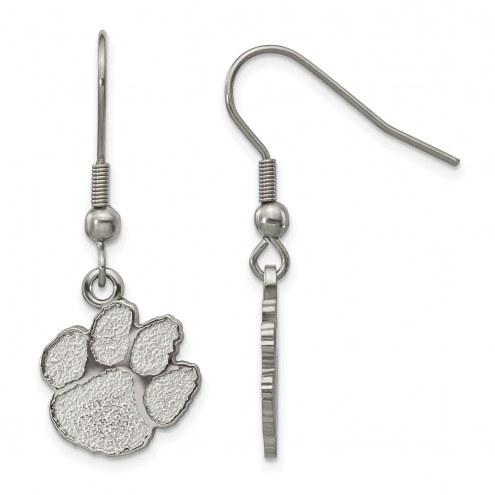 Clemson Tigers Stainless Steel Dangle Earrings