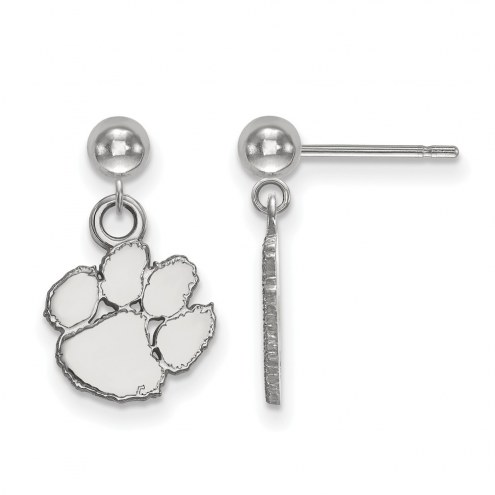 Clemson Tigers Sterling Silver Dangle Ball Earrings