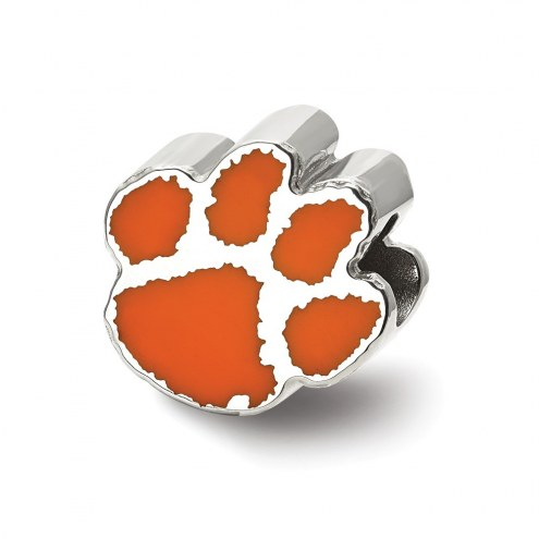 Clemson Tigers Sterling Silver Enameled Bead