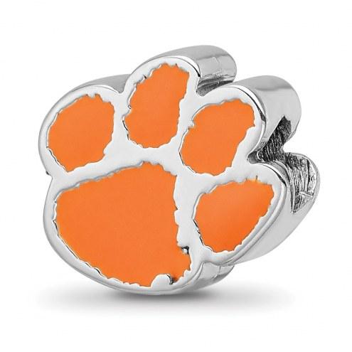 Clemson Tigers Sterling Silver Enameled Bead