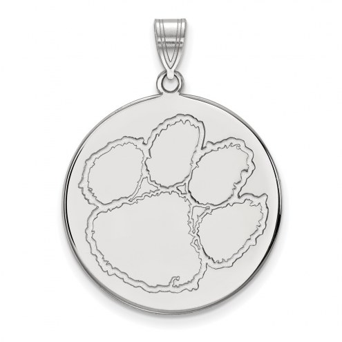 Clemson Tigers Sterling Silver Extra Large Disc Pendant