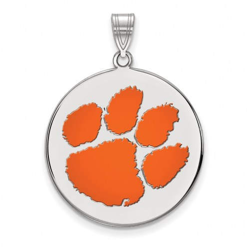 Clemson Tigers Sterling Silver Extra Large Enameled Disc Pendant