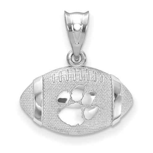 Clemson Tigers Sterling Silver Football with Logo Pendant