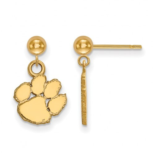 Clemson Tigers Sterling Silver Gold Plated Dangle Ball Earrings