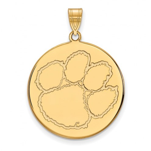 Clemson Tigers Sterling Silver Gold Plated Extra Large Disc Pendant