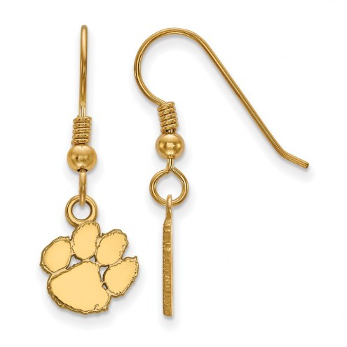 Clemson Tigers Sterling Silver Gold Plated Extra Small Dangle Earrings