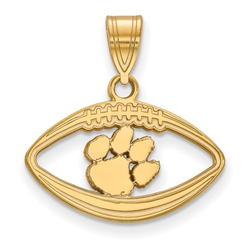Clemson Tigers Sterling Silver Gold Plated Football Pendant