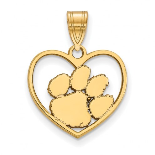 Clemson Tigers Sterling Silver Gold Plated Heart Pendant