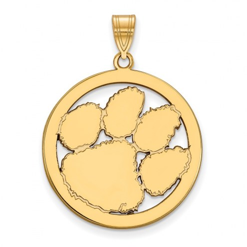 Clemson Tigers Sterling Silver Gold Plated Large Circle Pendant