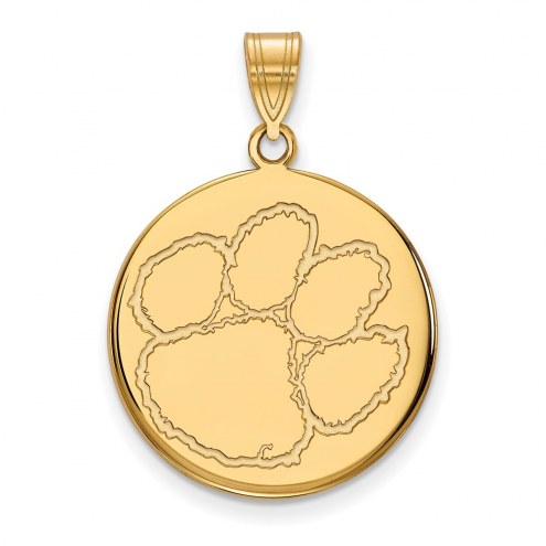 Clemson Tigers Sterling Silver Gold Plated Large Disc Pendant