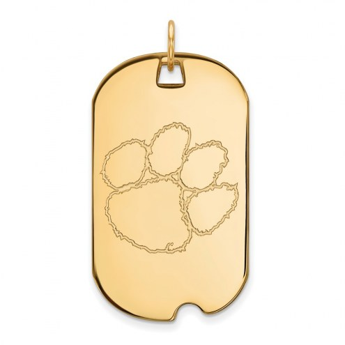 Clemson Tigers Sterling Silver Gold Plated Large Dog Tag