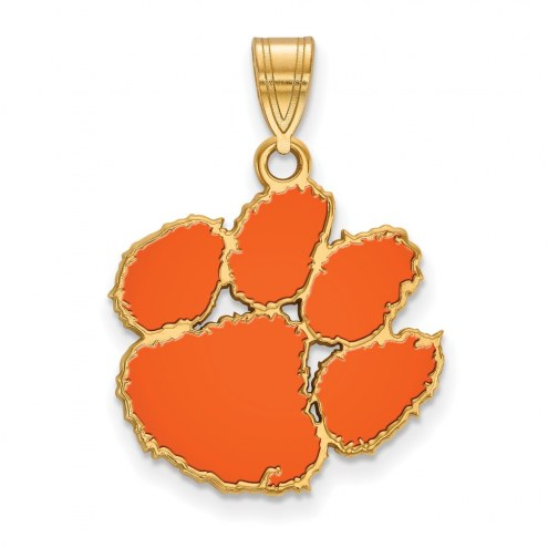 Clemson Tigers Sterling Silver Gold Plated Large Enameled Pendant