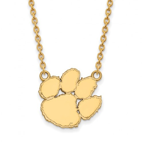 Clemson Tigers Sterling Silver Gold Plated Large Pendant Necklace