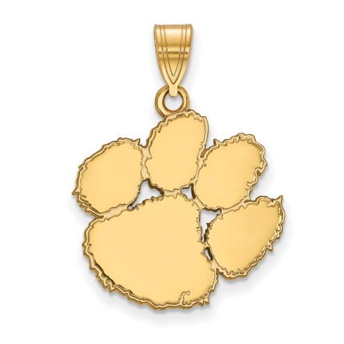 Clemson Tigers Sterling Silver Gold Plated Large Pendant