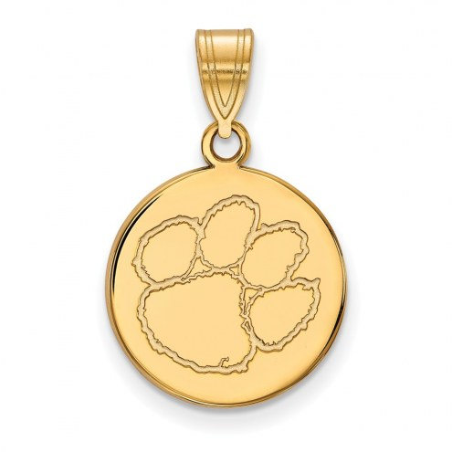 Clemson Tigers Sterling Silver Gold Plated Medium Disc Pendant