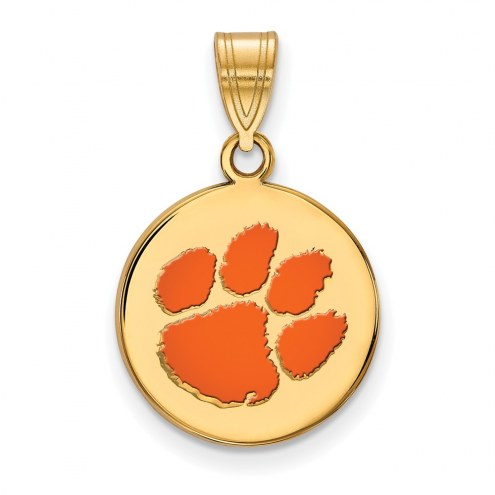 Clemson Tigers Sterling Silver Gold Plated Medium Enameled Disc Pendant