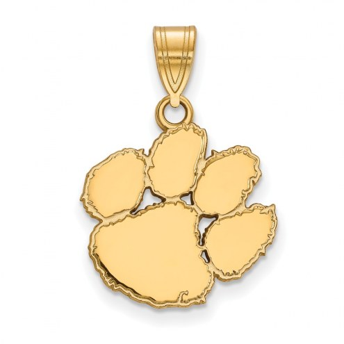 Clemson Tigers Sterling Silver Gold Plated Medium Pendant