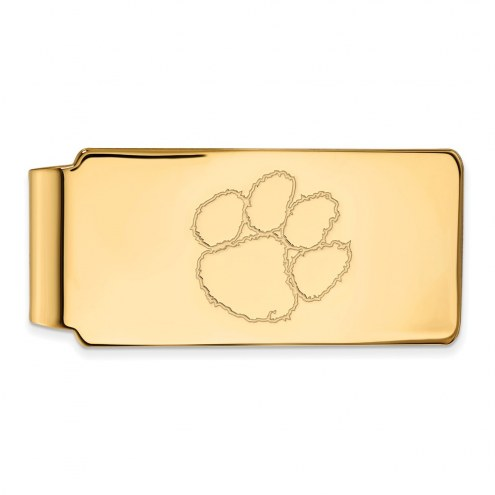 Clemson Tigers Sterling Silver Gold Plated Money Clip