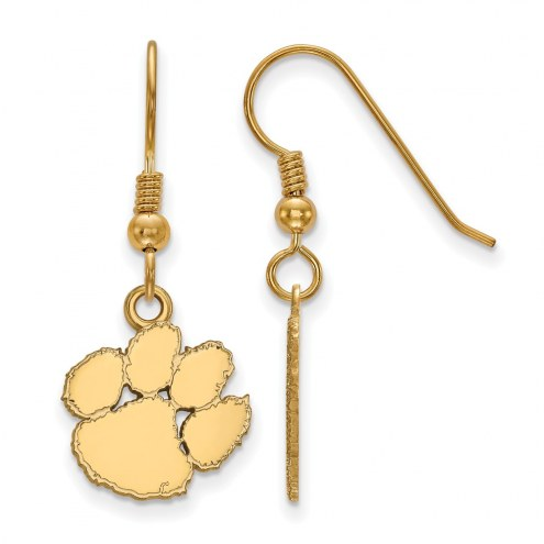 Clemson Tigers Sterling Silver Gold Plated Small Dangle Earrings