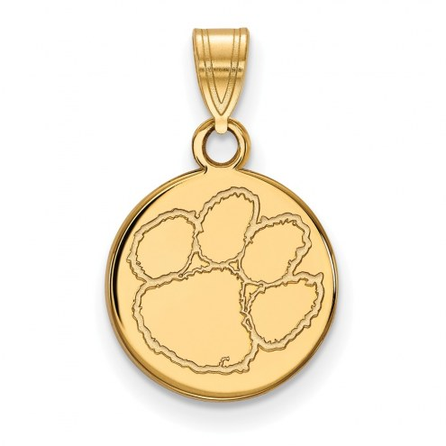Clemson Tigers Sterling Silver Gold Plated Small Disc Pendant