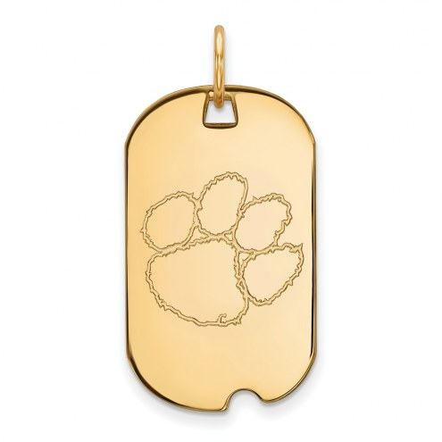 Clemson Tigers Sterling Silver Gold Plated Small Dog Tag