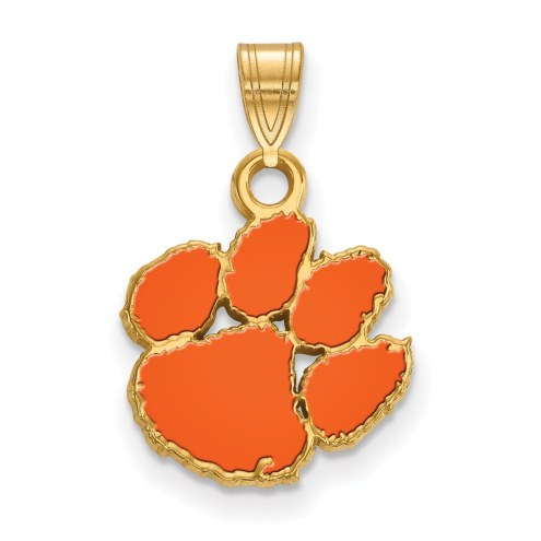 Clemson Tigers Sterling Silver Gold Plated Small Enameled Pendant