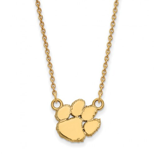 Clemson Tigers Sterling Silver Gold Plated Small Pendant Necklace
