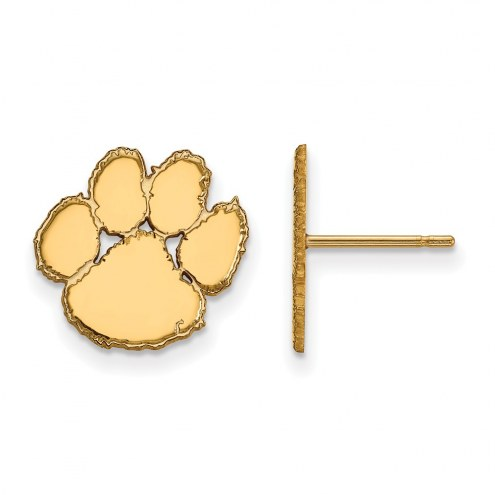 Clemson Tigers Sterling Silver Gold Plated Small Post Earrings