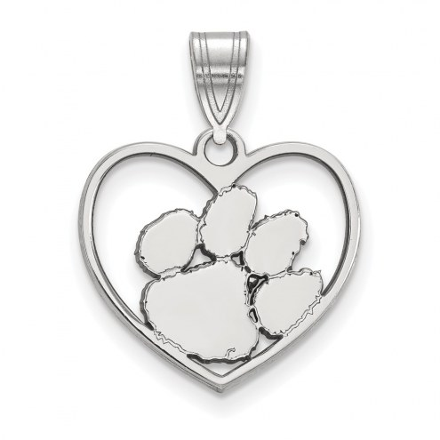 Clemson Tigers Sterling Silver Heart Pendant