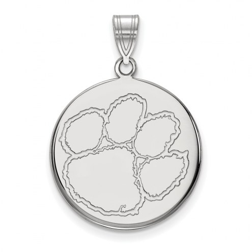 Clemson Tigers Sterling Silver Large Disc Pendant