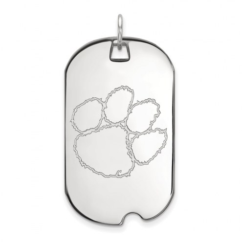 Clemson Tigers Sterling Silver Large Dog Tag