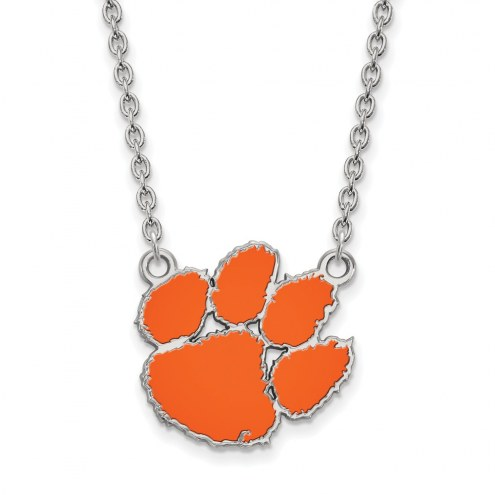 Clemson Tigers Sterling Silver Large Enameled Pendant Necklace
