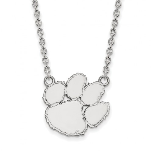 Clemson Tigers Sterling Silver Large Pendant Necklace