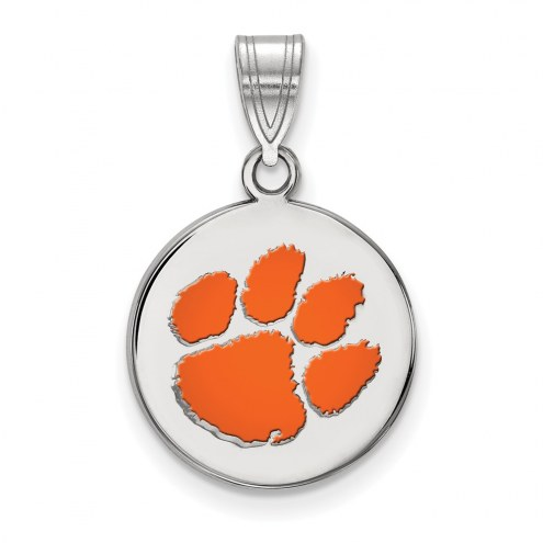 Clemson Tigers Sterling Silver Medium Enameled Disc Pendant