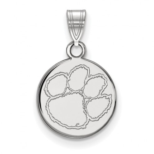 Clemson Tigers Sterling Silver Small Disc Pendant