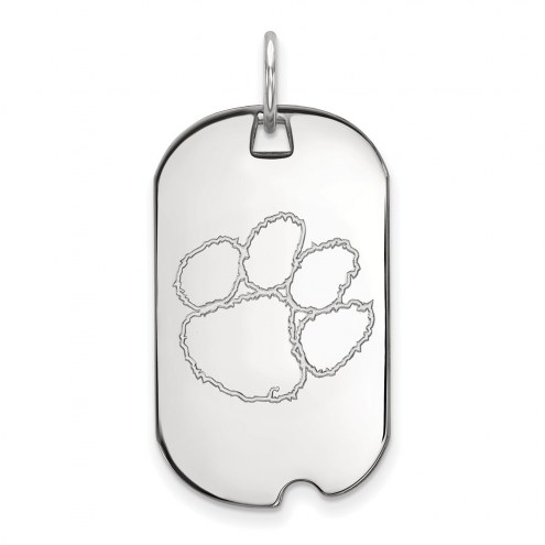 Clemson Tigers Sterling Silver Small Dog Tag