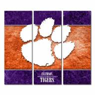 Clemson Tigers Triptych Double Border Canvas Wall Art