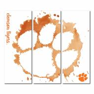 Clemson Tigers Triptych Watercolor Canvas Wall Art