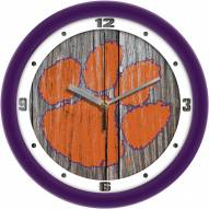 Clemson Tigers Weathered Wall Clock