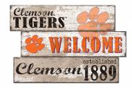 Clemson Tigers Welcome 3 Plank Sign