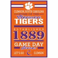 Clemson Tigers Established Wood Sign