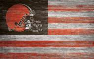 """Cleveland Browns 11"""" x 19"""" Distressed Flag Sign"""
